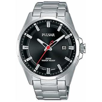 Pulsar Gents Black Dial Stainless Steel PS9509X1 Watch