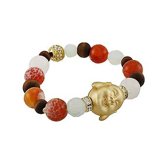 Agate Beaded Stretch Bracelet with Golden Buddha Bead