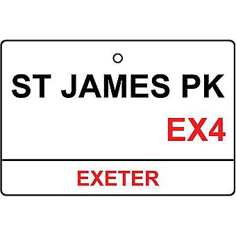 Exeter St James Park calle signo coche aire ambientador
