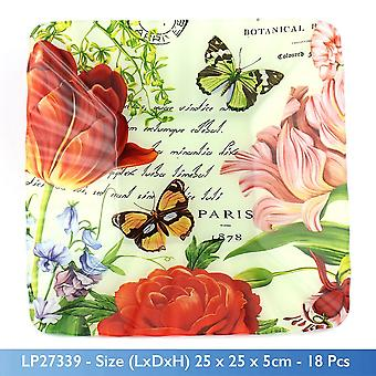 BUTTERFLY GARDEN THEME ART GLASS SQUARE BOWL LARGE 25x25CM