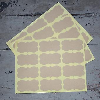 Plain Brown Kraft Ornate Shape stickers x 36 - Wedding / Craft / Scrapbooking