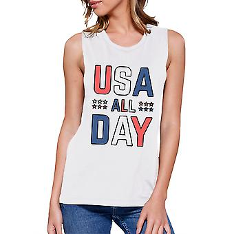 USA All Day Women White Cotton Muscle Top Cute 4th Of July Design