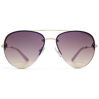 Kurt Geiger Fine Frame Metal Pilot Sunglasses In Shiny Gold