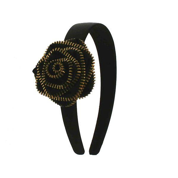 W.A.T Black Satin Zip Rose Hairband