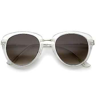 Retro Metal Trim And Temple Round Lens Cat Eye Sunglasses 48mm