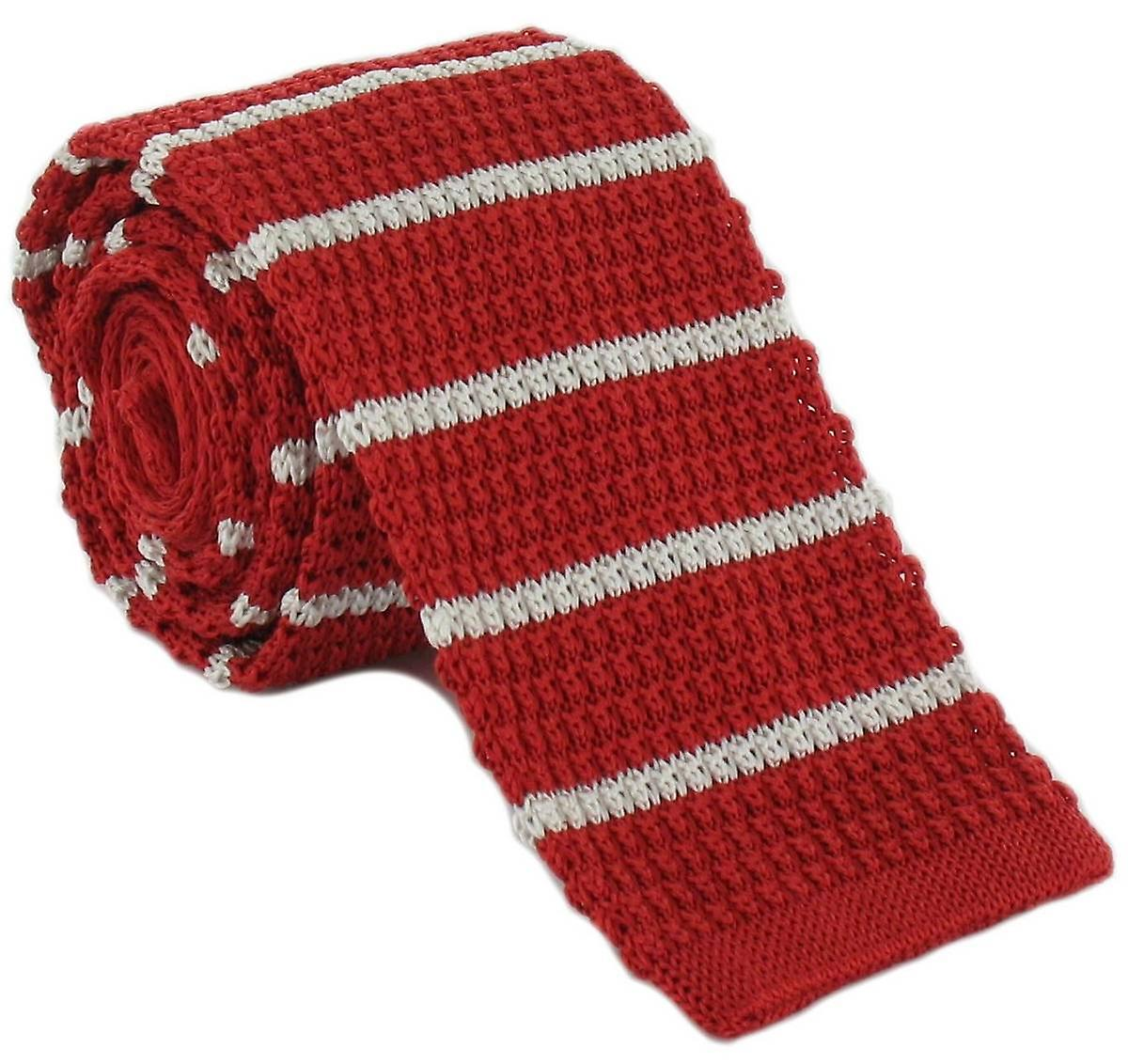 Michelsons of London Silk Knitted Striped Skinny Tie - Red/White