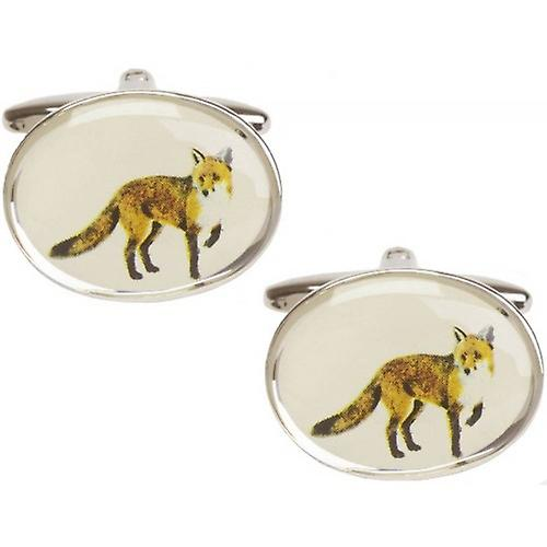 David Van Hagen Fox Image Cufflinks - Silver