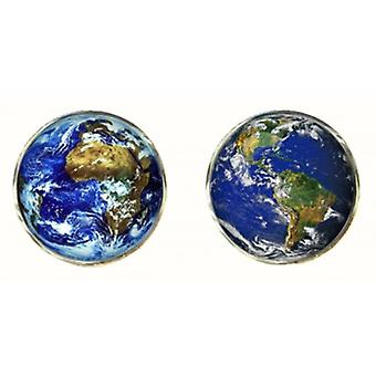 Bassin and Brown Planet Earth Cufflinks - Blue/Green
