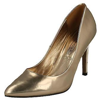 Ladies Spot On Slip On Metallic High Heel Court Shoes