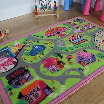 Girls Town & Shops Kids Play Mat
