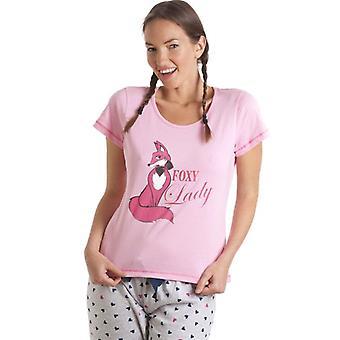 Camille Pink And Grey Foxy Lady Pyjama Set