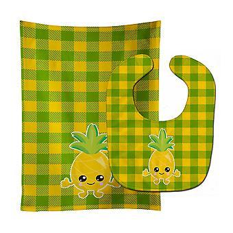 Carolines Treasures  BB8958STBU Pineapple Smily Face Baby Bib & Burp Cloth
