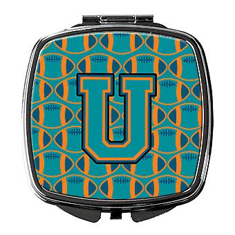 Letter U Football Aqua, Orange and Marine Blue Compact Mirror