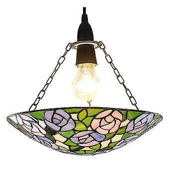 Unique Purple/Pink Rose Themed Tiffany Glass Pendant Shade