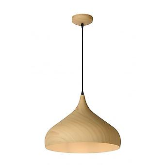 Lucide WOODY Pendant E27 D42 H30cm Clear Wood