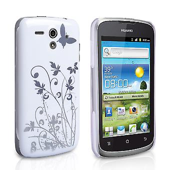 Yousave Accessories Huawei Ascend G300 Butterfly IMD Hard Case - White