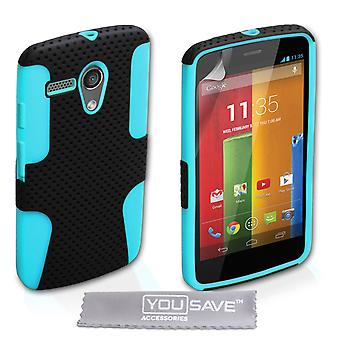 Yousave Accessories Motorola Moto G Tough Mesh Combo Silicone Case - Blue-Black