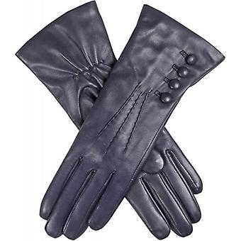 Dents Evelyn Cashmere Lined Hairsheep Leather Gloves - Navy/Red