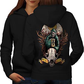 Eye Skull Horror Fantasy Women BlackHoodie Back | Wellcoda