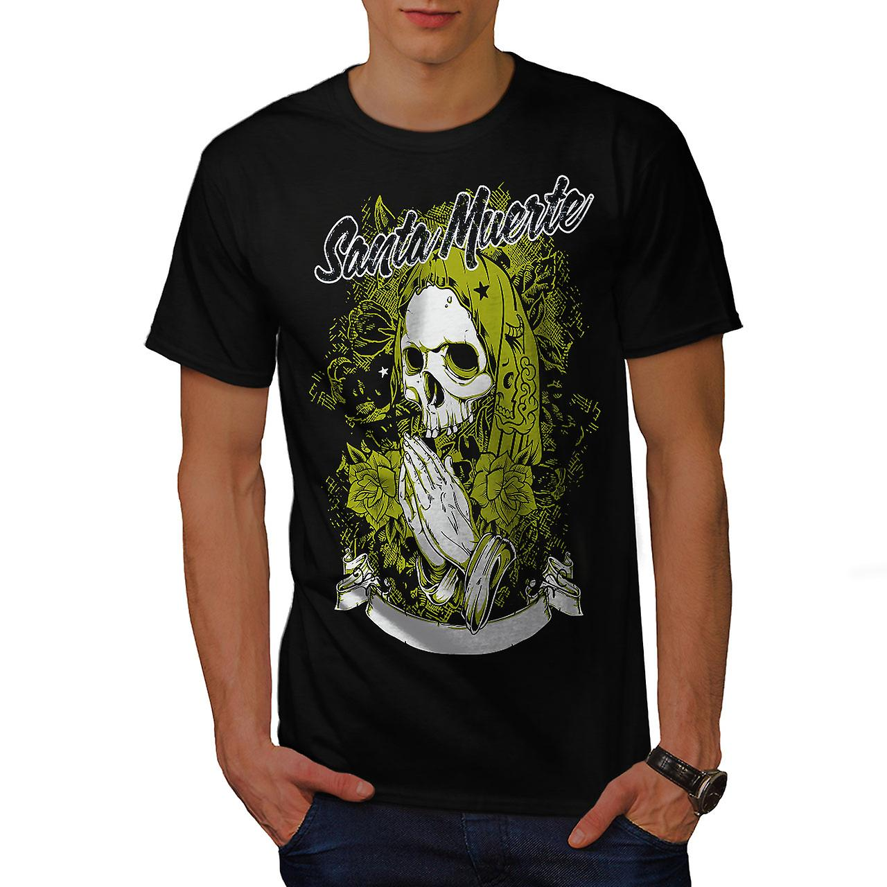 Santa Muerte Skull Men Black T-shirt | Wellcoda