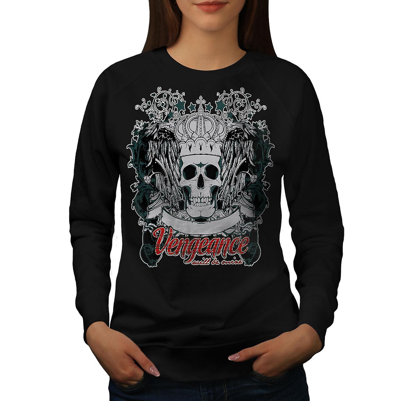 Vengeance Be Mine Skull Women BlackSweatshirt | Wellcoda