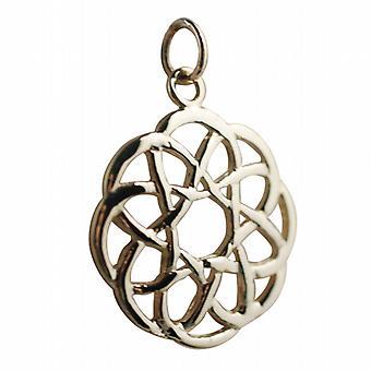 9ct goud 22mm ronde Keltische knoop ontwerp hanger