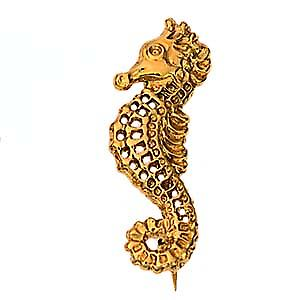 9ct Gold 30x11mm sea horse Brooch