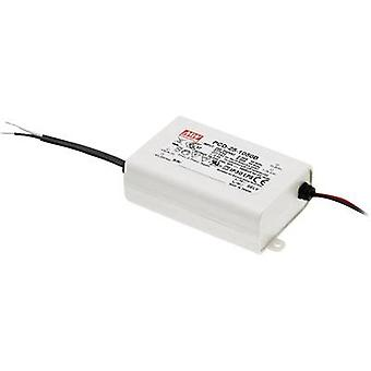 Mean Well PCD-25-700B LED driver Constant current 25 W 0.7 A 24 - 36 Vdc dimmable, PFC circuit, Surge protection, Suitab