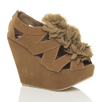 Ajvani womens high wedge heel ruffle flower zip strappy platform sandals