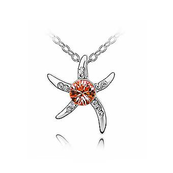 Women's Silver Starfish Necklace Orange Crystal Stone