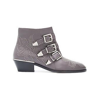 Chloé ladies CHC16A13475031 grey leather ankle boots