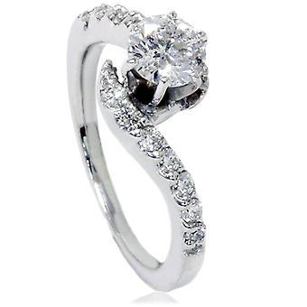 5 / 8ct kurva diamant förlovningsring 14K vitguld
