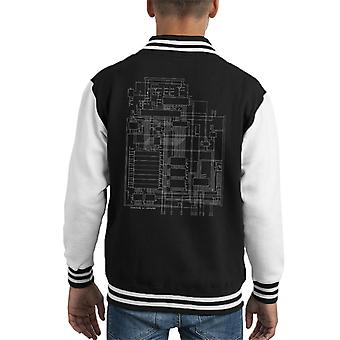 Commodore 64 Computer Schematic Kid's Varsity Jacket