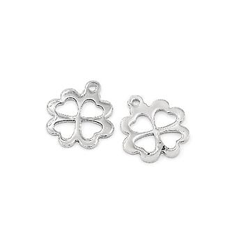 5 x Silver 304 Stainless Steel 13 x 15mm Four Leaf Clover Charm/Pendant ZX20180