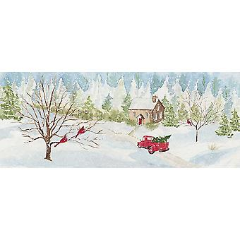 Christmas In The Country Panel With Red Truck Poster Print by Tara Reed