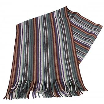 Bassin and Brown Graveney Stripe Wool Scarf - Brown/Green