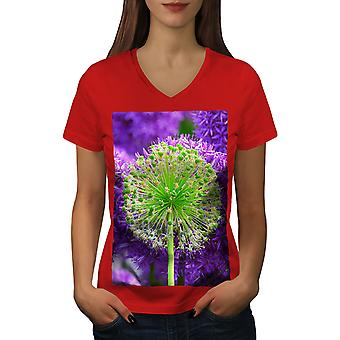 Psychedelic Flower Women RedV-Neck T-shirt | Wellcoda