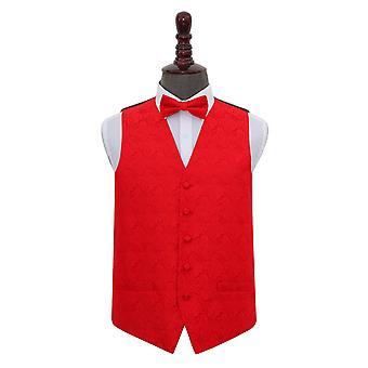 Red Paisley Wedding Waistcoat & Bow Tie Set