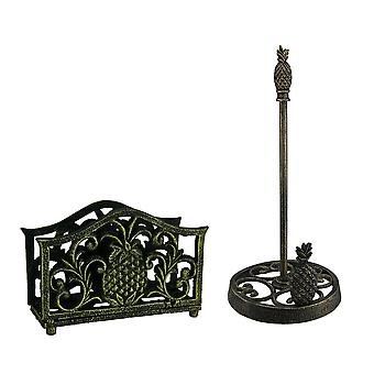 Black Gold Tropical Pineapple Cast Iron Napkin and Paper Towel Holder Set