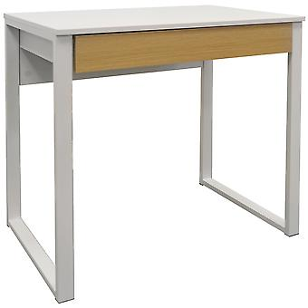 Loop - Compact Office Workstation / Computer Desk / Dressing Table - White / Oak