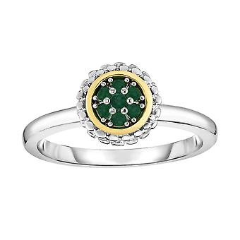 18k Gold And Sterling Silver Emerald Fancy Ring