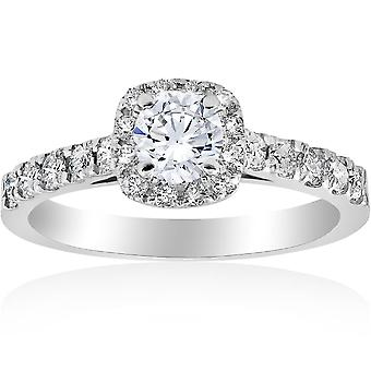 1ct pude Halo diamant Engagement Ring 14K hvidguld
