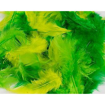 10g Mixed Green & Lime Craft Feathers | Scrapbooking Card Making Embellishments