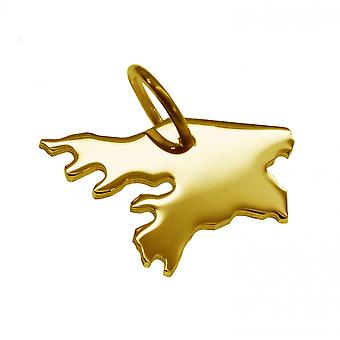 Trailer map GUINEA-BISSAU pendant in solid 585 yellow gold