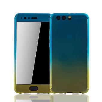 Huawei P10 plus cell phone case protective case Fullcover tank protection glass blue / yellow