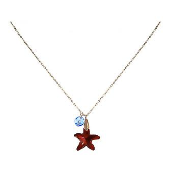 Ladies - necklace - pendants - rose gold plated - Starfish - red - blue - 45 cm