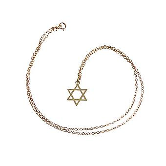Collier Pendentif plaqué or étoile de David recouvert d'or pendentifs et