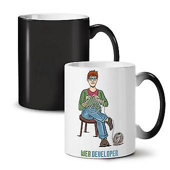 Web Developer NEW Black Colour Changing Tea Coffee Ceramic Mug 11 oz | Wellcoda