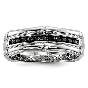 Sterling Silver Polished Gift Boxed Rhodium-plated Black Diamond Mens Ring - Ring Size: 9 to 11