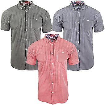 Brave Soul Mens Clement Short Sleeve Check Checked Buttoned Shirt Top